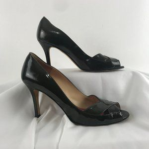 Kate Spade Forest Green Patent Peep Toe Pumps